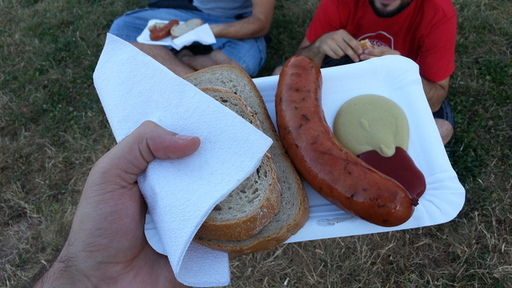 Great food while at a street concert in Brno